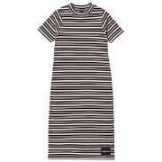Calvin Klein Jeans Black and Pale Pink Stripe Maxi Klänning 4 years