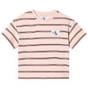 Calvin Klein Jeans Pink Stripe Logo Boxy T-shirt 4 years