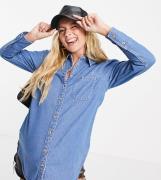 ASOS DESIGN Maternity – Mellanblå mjuk jeansskjorta med puffärmar