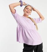 ASOS DESIGN Maternity – Ljuslila tunika med kort ärm och rynkning