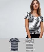 Mamalicious – 2-pack randiga amnings-t-shirtar i ekologisk bomull-Fler...