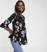 New Look Maternity – Svart blus med smock och blommigt mönster